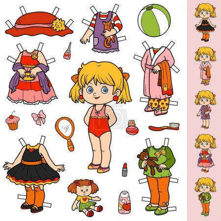 Illustration for Colorful vector set, cute paper doll and clothes - Royalty Free Image