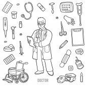 Vector set with doctor and medical objects Black and white item