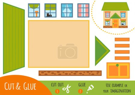 Education paper game for children, House