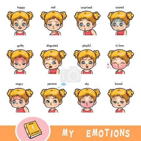 Illustration for Cartoon visual dictionary for children. The human emotions. Color set of girl faces with different expressions - Royalty Free Image
