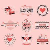 Valentines day emblems and design elements set on pink background