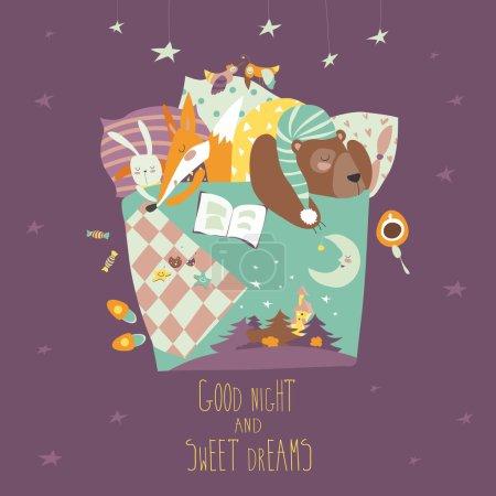 Illustration pour Animaux mignons dormir dans son lit. Illustration vectorielle - image libre de droit