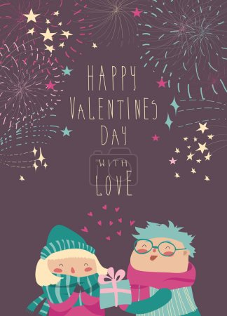 Illustration for Boy gives a gift to the girl while fireworks in the sky. Vector Valentines card - Royalty Free Image