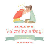 Valentines card with kissing couple  Vector illustration