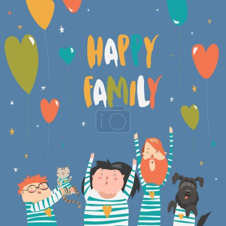 Happy family gesturing with cheerful smile