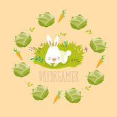 Little rabbit dreaming about vegetables Vector illustration