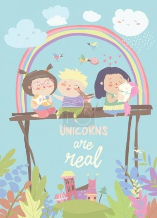 Kids with their pets. One of them is unicorn