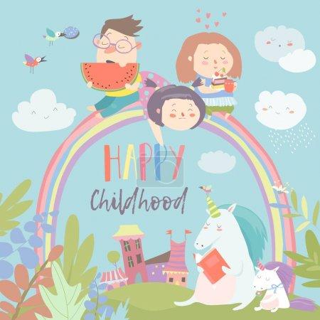 Happy kids on rainbow with magical unicorns
