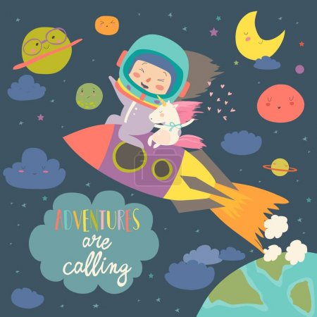 Illustration for Girl astronaut with her unicorn riding a rocket. Vector illustration - Royalty Free Image