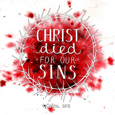 Hand lettering Christ died for our sins