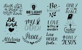 Set of 12 Hand lettering christian quotes Only Jesus Love one another Church ministry Alleluia Be light Bible Faith hope Peace Be kind Blessed Never fails