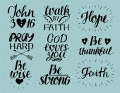 Set of 9 Hand lettering christian quotes God loves you John3 16 Hope Pray hard Walk by faith Be wise thankful strong