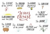 Set of 11 Hand lettering christian quotes about Jesus Christ Savior Door Good Shepherd Way truth life Alpha and Omega Lamb of God The vine Light of world Resurrection