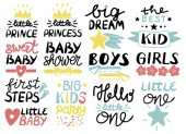 Collection of 13 children logo with handwriting Hello Little one First Steps Sweet Baby shower Big dream Boys Girls The best Kid Prince Princess