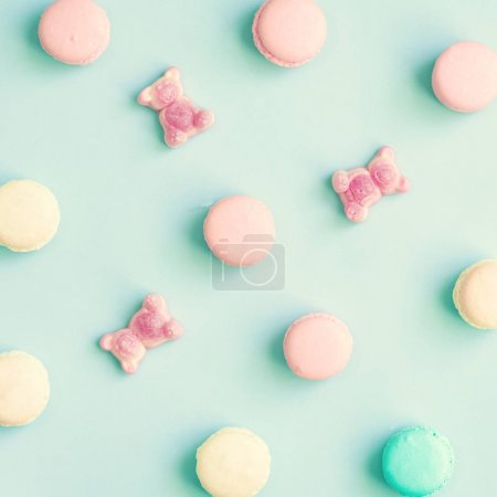 Photo for Vintage pastel colored French macaroons - Royalty Free Image
