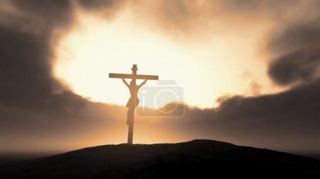 Photo pour Silhouette de Jésus sur croix sur un ciel orageux. Il s'agit d'une illustration de rendu 3d - image libre de droit