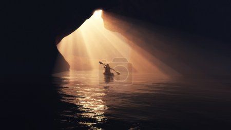 Photo for Kayaker afloating to the cave. This is a 3d render illustration - Royalty Free Image