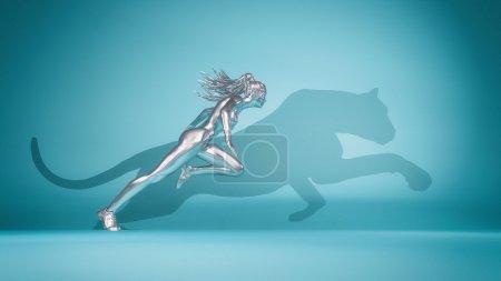 Photo pour Femme qui court sur fond bleu et son ombre présente la forme d'un guépard. Il s'agit d'une illustration de rendu 3d - image libre de droit