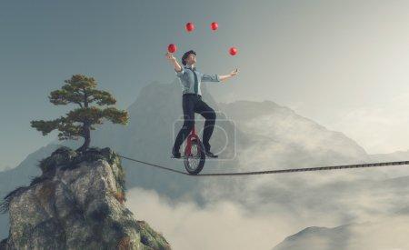 Photo pour Juggler équilibre sur la corde avec un vélo entre deux montagnes. Ceci est une illustration de rendu 3d - image libre de droit