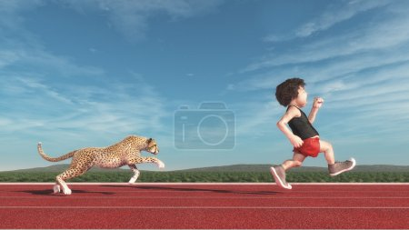 Photo for Cheetah chasing a short man running on a red track. This is a 3d render illustration - Royalty Free Image