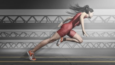 Photo for Woman athlete running on track. This is a 3d render illustration - Royalty Free Image