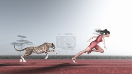 Photo for Woman competes with a cheetah on a red running track. This is a 3d render illustration - Royalty Free Image
