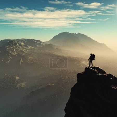 Photo for Young man up the mountain admiring the landscape. This is a 3d render illustration - Royalty Free Image