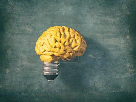 Photo pour Ampoule avec un cerveau jaune au lieu du verre. Ceci est une illustration de rendu 3d - image libre de droit