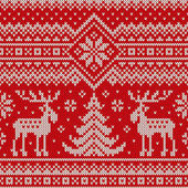 Winter Holiday Seamless Knitted Pattern with a Christmas Trees and Elks Knitting Sweater Design Wool Knitted Texture