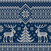Winter Holiday Seamless Knitted Pattern with a Christmas Trees and Elks Knitting Sweater Design