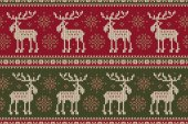 Winter Holiday Sweater with Elks and Snowflakes Seamless Knitting Pattern Wool Knitted Sweater Design
