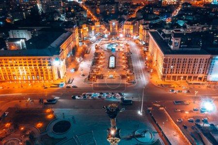 Photo pour Kyiv, Ukraine - 5 août 2019 : Maidan Nezalezhnosti est la place centrale de la capitale de l'Ukraine dans la nuit. - image libre de droit