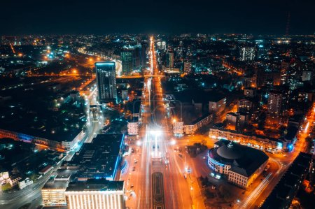 Photo for Panoramic view on big city at night, aerial view - Royalty Free Image