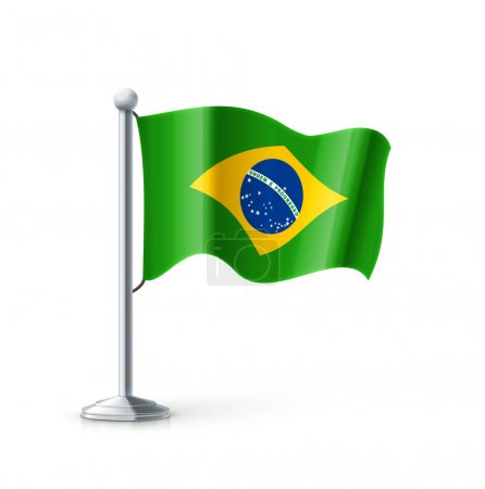 brazil flag on flagpole