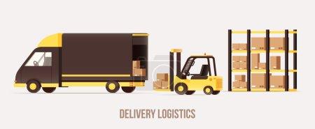 Illustration pour Livraison, camions, icônes, illustration vectorielle - image libre de droit