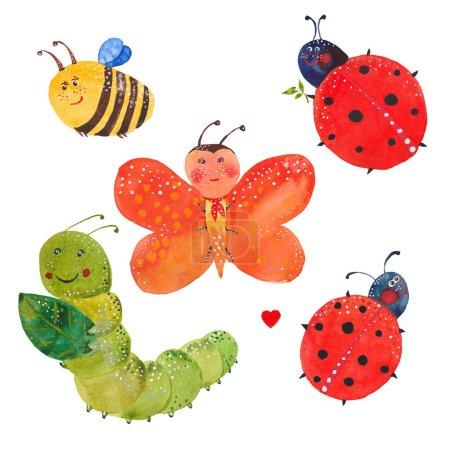 Photo pour Jeu d'insectes, illustration aquarelle sur fond blanc - image libre de droit