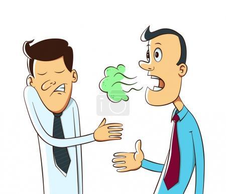 Illustration pour Mauvaise haleine d'un homme bouche, dessin animé - image libre de droit