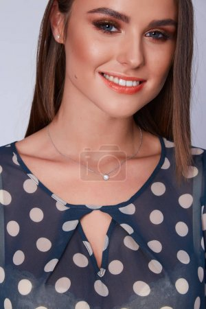 Photo for Portrait beautiful sexy brunette woman long hair style fashion model organic cosmetic for face make up teeth smile dental whitening  jewelry accessory mascara plastic surgery skin care lotion cream. - Royalty Free Image