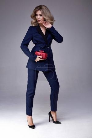 Beautiful business woman lady boss style perfect body shape blon