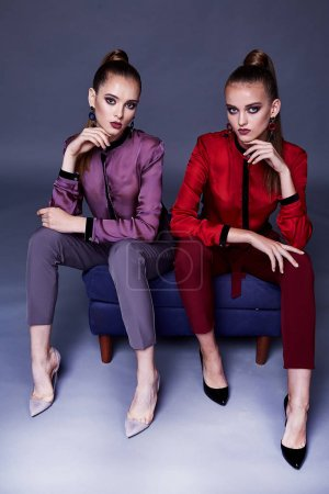 Photo for Two beautiful business woman lady style perfect body shape brunette jewelry earrings wear fashion clothes silk blouse pants portrait cosmetic makeup accessory bag glamour model pose party office. - Royalty Free Image