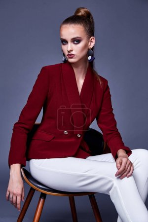 Photo for Portrait sexy pretty beautiful woman fashion style clothes model perfect face red jacket silk white pants brunette hair luxury dress code jewelry accessory beauty salon party makeup cosmetic girlfriend. - Royalty Free Image