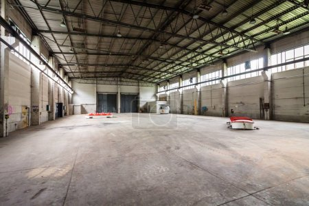 Pedal boat in an empty warehouse