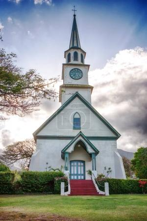 wooden church with blus sky on Hawaii