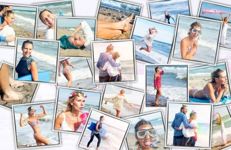 Photo for Collage of colorful photos of woman and man at the beach - Royalty Free Image