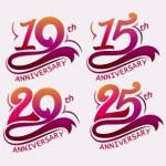 10, 15, 20 and 25th Years Anniversary Design, Temp...