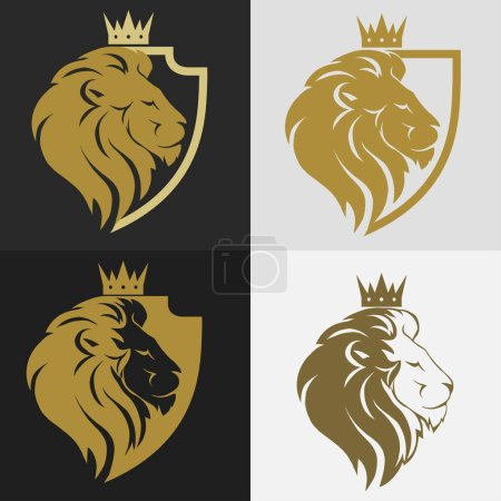 Illustration for Lion head with crown and shield logo, royal cat profile. Golden luxury emblem. Vector - Royalty Free Image