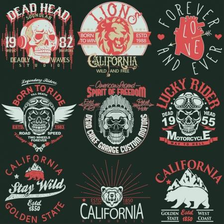 Illustration for T-shirt stamp graphic set, California Sport wear typography emblem set, Skull rider vintage tee print, Lion athletic apparel design graphic print. Vector - Royalty Free Image