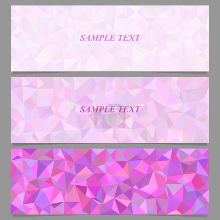 Colored tiled triangle mosaic banner design set
