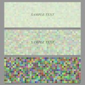 Multicolored abstract square mosaic pattern banner set