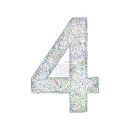 Colorful sketch font design - number 4